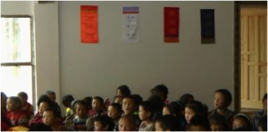 Children in shedra classroom