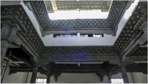 Surmang Shedra shrine room ceiling and clerestory, awaiting painting