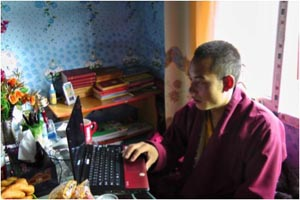 Trungpa XII Rinpoche at the desk of his residence in Sertha