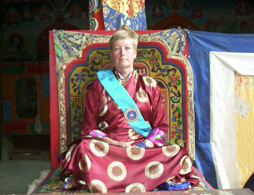 Lady Diana Mukpo on ceremonial throne at Surmang