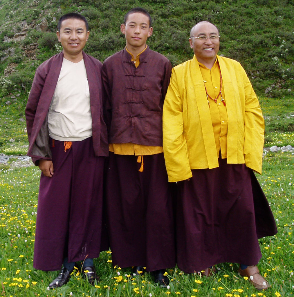 The Twelfth Trunpga flanked by Surmang Khenpo and Aten Rinpoche