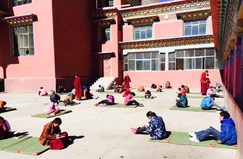 exams in shedra courtyard
