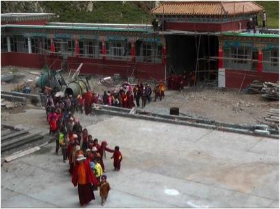 Children starting school at the Surmang Shedra September 2010